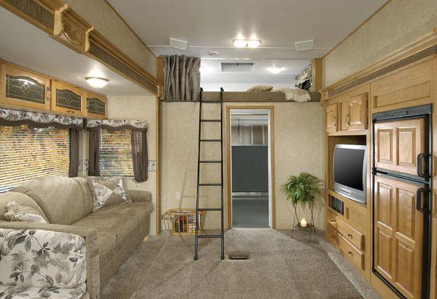 Wowwwwww rv interiors loft bed camping pinterest rv for Rv loft bed
