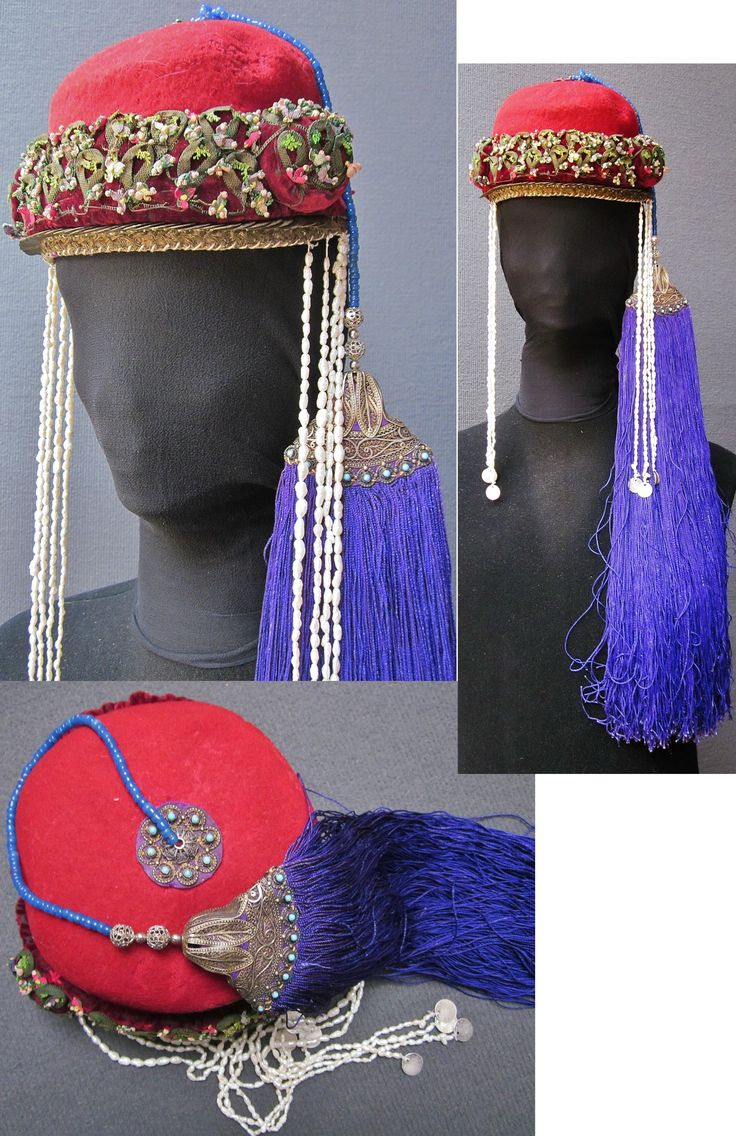 Traditional festive woman's hat from the Olti/Oltu region (North of Erzurum province). Well-to-do Armenian, c. 1900. The felt hat is adorned with needle work, a& row of small Ottoman copper coins, 2 x four lines of: wild (baroque) pearls + one small silver Ottoman coin, and a clasp (gilt silver & turquoises) holding a purple silk tassel; the tassel is attached to the hat by a string of blue glass pearls. (Inv.nr. ba$023 - Kavak Costume Collection - Antwerpen/Belgium).