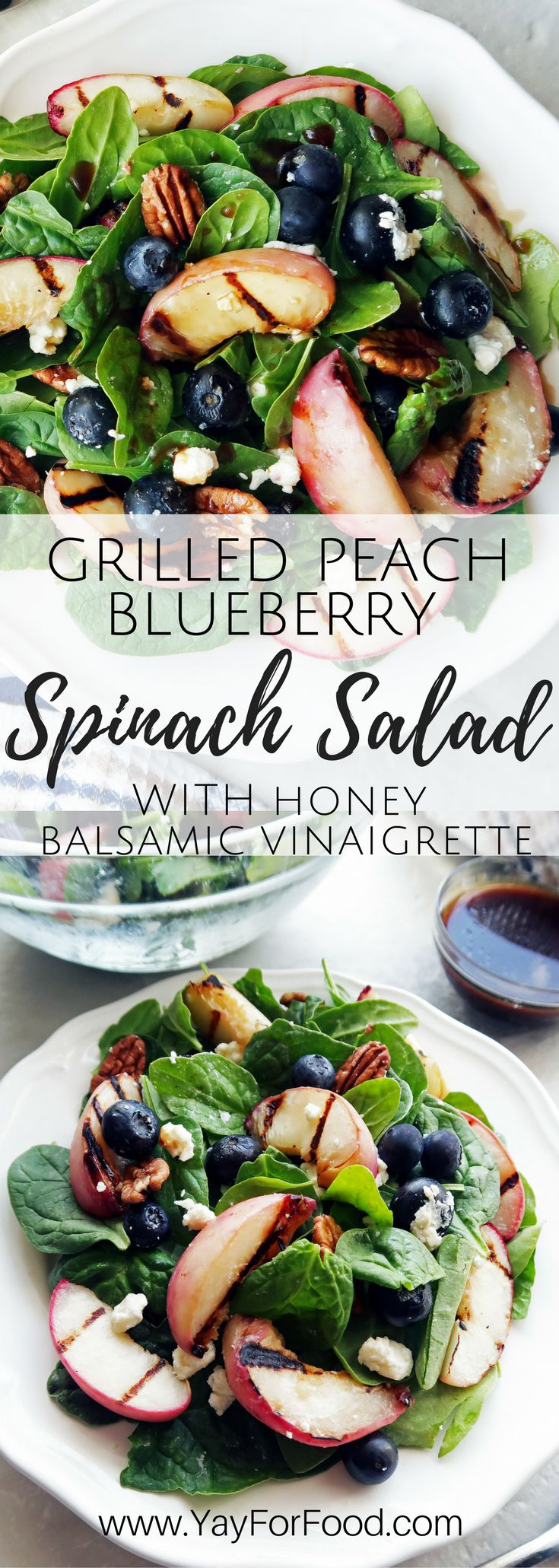 A fresh summer spinach salad featuring grilled peaches, blueberries, feta cheese, and pecans with a homemade honey balsamic vinaigrette!