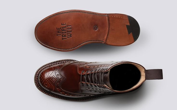 Mens Brogue Boot in Mahogany Calf Grain Leather with a Triple Welt Leather Sole | Fred | Grenson Shoes - Top & Bottom View