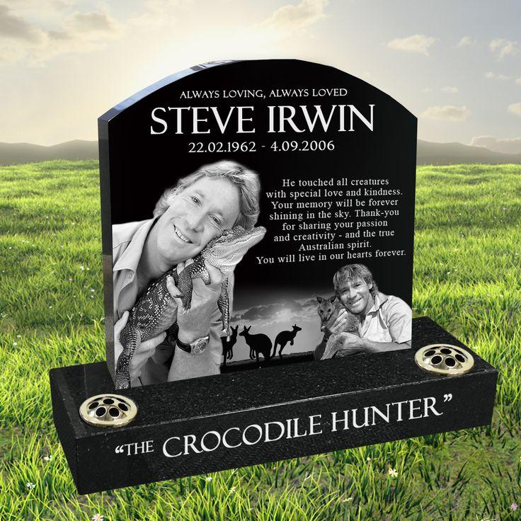 Steve Irwin laser etched black granite headstone designed by Forever Shining