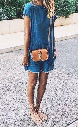Denin e o verão... Vestido, dress, jeans, caramelo
