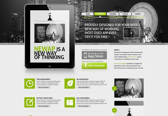 Free Web Template For App Showcasing – Newap
