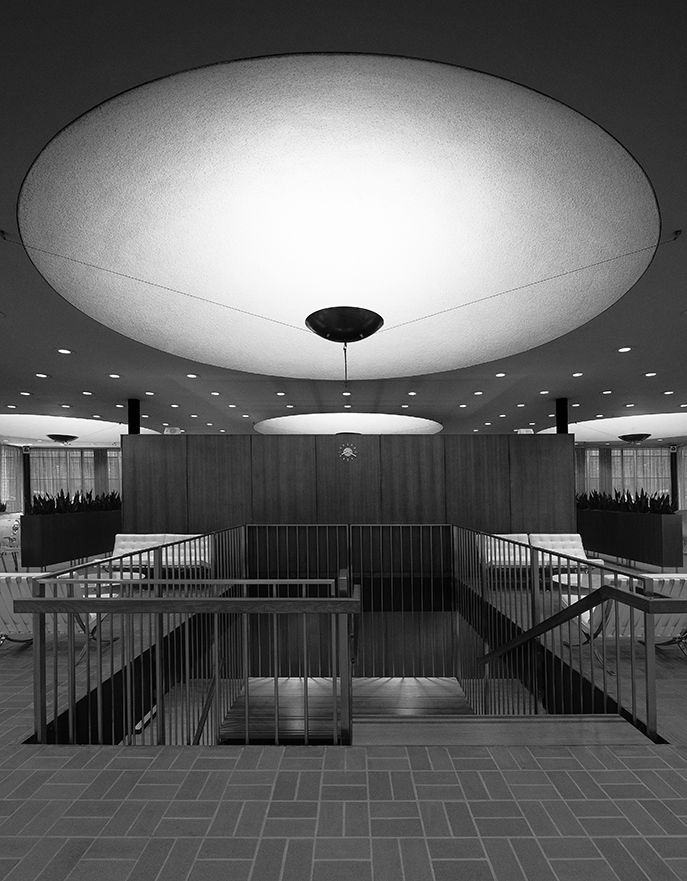 Irwin Union Bank and Trust (now Irwin Conference Center), Columbus, Indiana, by Eero Saarinen