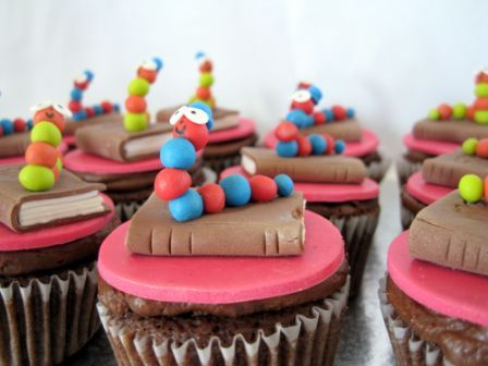 bookworms on cupcakes