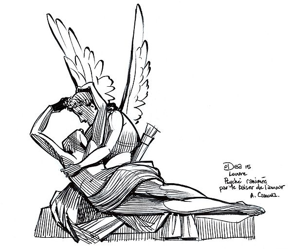 Psyche Revived by Cupid's Kiss, 1793, Antonio Canova. Drawn at the Louvre in one sitting in October 2015.