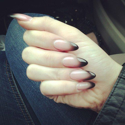 Oval Nails Design Tumblr Clear to black ombre n...