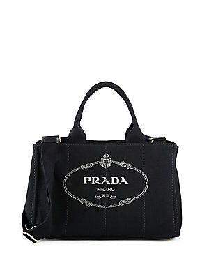 Prada Logo-Print Medium Canvas Tote | Pretty | Pinterest | Canvas ...
