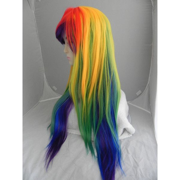 Rainbow Red Yellow Blue Purple Long Straight Layered Wig ($120) ❤ liked on Polyvore featuring beauty products, haircare, hair styling tools, bath & beauty, grey and hair care