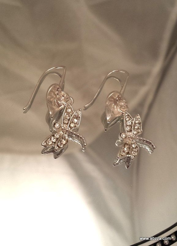Shimmering Dragonfly Dangle Earrings by abzzadesigns on Etsy