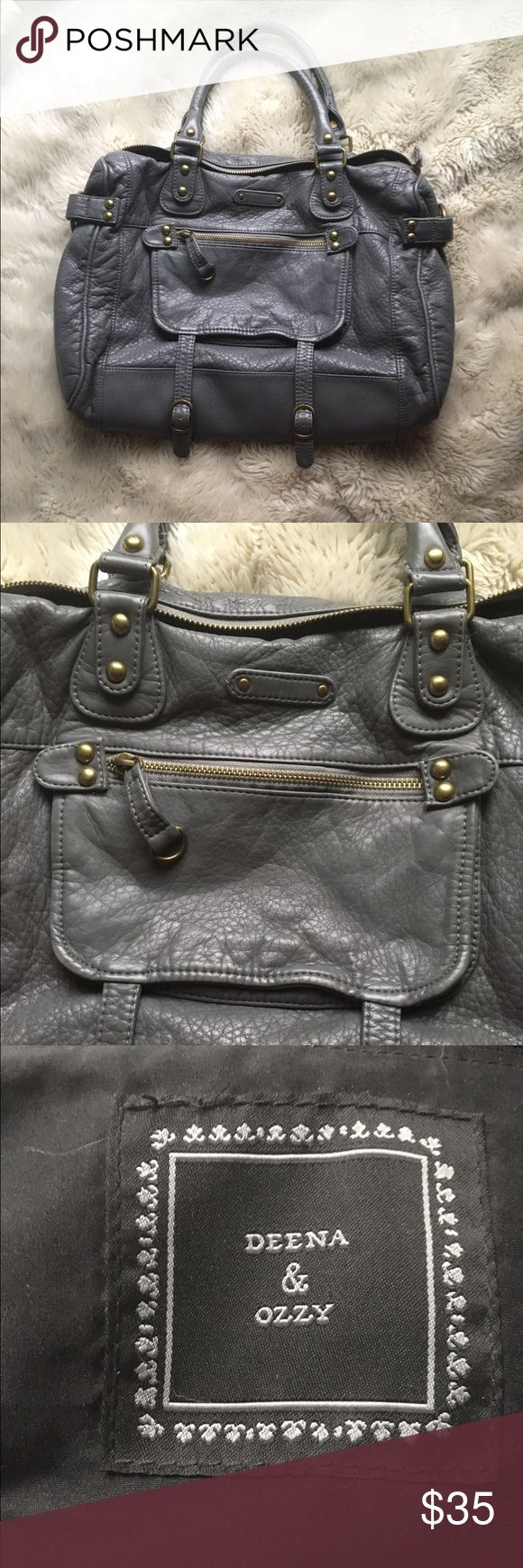 "Urban Outfitters grey leather handbag Urban Outfitters grey pebbled leather handbag with gold metal details, motorcycle style bag, ""deena and ozzy"" brand, some use but very good condition, soft leather, $30 Urban Outfitters Bags Hobos"