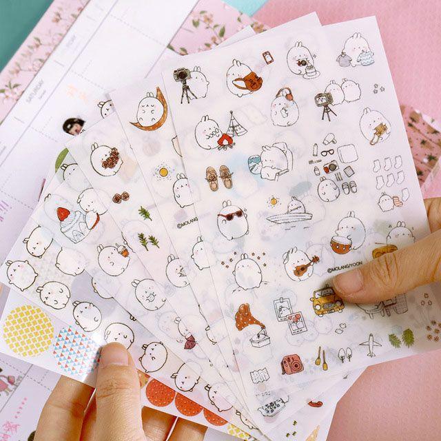 6 hojas/set Corea Molang Estúpido Meng Súper Lindo Conejo Q Pet Decorativos Planner Pegatinas Diario de Notas Adhesivas