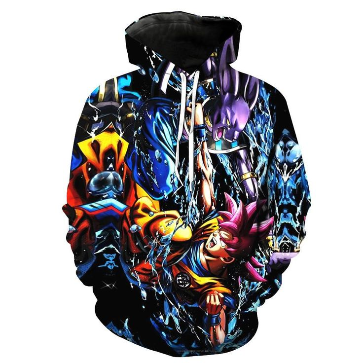Dragon Ball Z Battle of The Gods Goku and Beerus Hoodie. 100% Cotton and Polyester blend, custom made sublimation printed technique and hand sewn hoodies, t-shirts, and long sleeves clothing.   For our 3D clothing, unless there is a picture on the back for our product images, all of our 3D clothing are printed front and back with the same image.                 FREE Shipping  NOT SOLD IN STORES          Gender: Unisex  Material: Cotton, Polyester Spandex Blend Machine Washable and Dryer Safe…