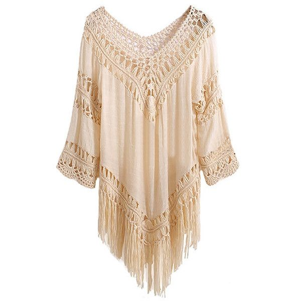 Venice Beach Fringed Blouse-WHITE-One Size (1,400 MKD) ❤ liked on Polyvore featuring tops, blouses, white, beach tops, round top, fringe top, fringe blouses and white top