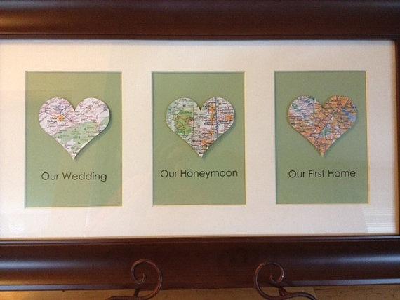 heart map personalized framed artwork for wedding engagement or housewarming present brown frame