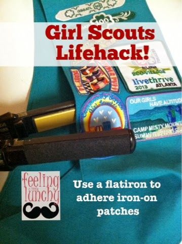 Feeling like a true Girl Scout - Use a flat iron to adhere iron-on patches.