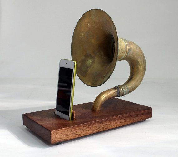 The Horn-A-Phone - iHorn -- Large Brass  Acoustic  Speaker Upright Horn Dock -- Acoustic Speaker System Docking Station  ,Walnut - Patina