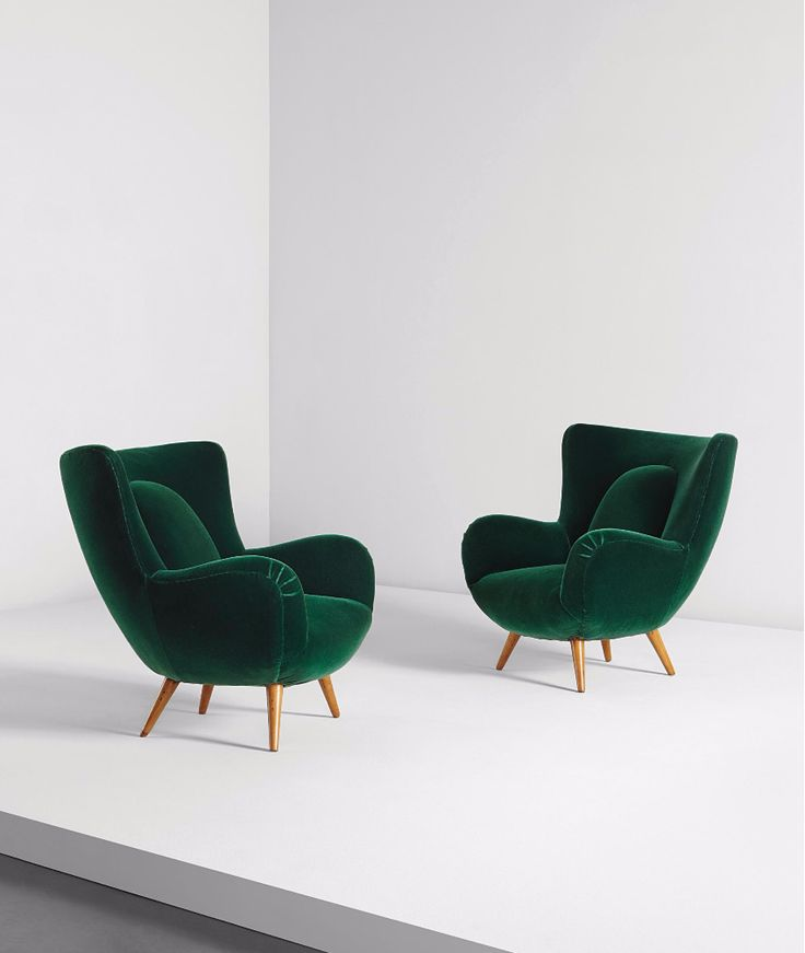 Carlo Mollino; Beech and Mohair Lounge Chairs for Acotto House, c1952.