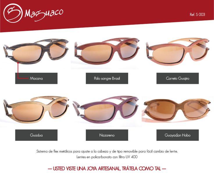 Gafas de sol en madera con filtro UV marca Maguaco S003 $200.000