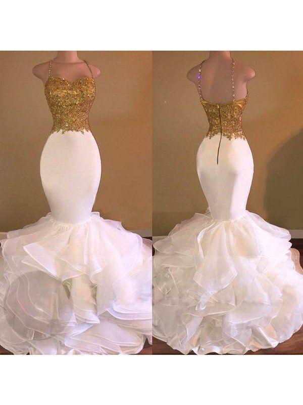 b98d8e12 Trumpet/Mermaid Spaghetti Straps Sleeveless Applique Organza Floor-Length  Dresses - Prom Dresses - Hebeos Online