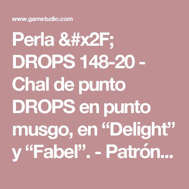 """Perla / DROPS 148-20 - Chal de punto DROPS en punto musgo, en """"Delight"""" y """"Fabel"""".   - Patrón gratuito de DROPS Design"""