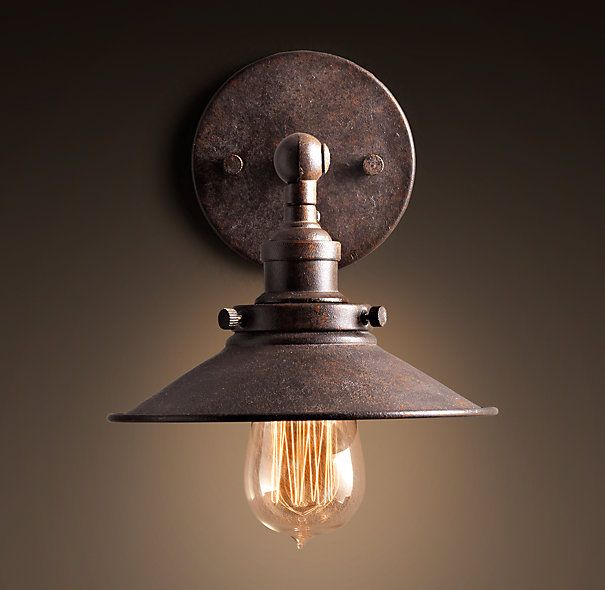 Wall Light Kitchen Sink: 20th C. Factory Filament Metal