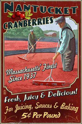 Nantucket, Massachusetts - Cranberry Farm Vintage Sign - Lantern Press Poster