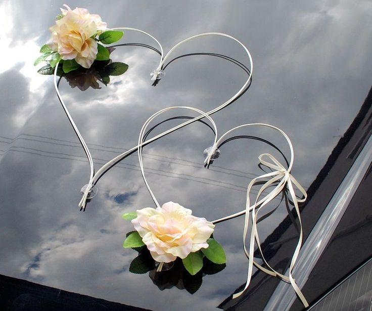 Hochzeitsauto Brautauto Autoschmuck Auto Schmuck Autodeko 2 Herzen - creme/rosa in Kleidung & Accessoires, Hochzeit & Besondere Anlässe, Sonstige   eBay!
