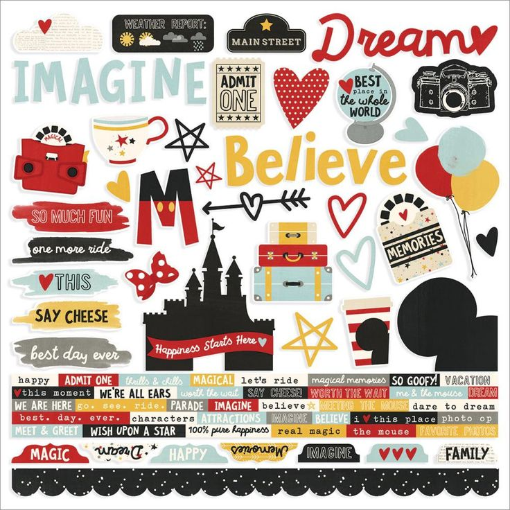"""Simple Stories Say Cheese III Collection Scrapbook Disney 12"""" x 12"""" Combo Cardstock Stickers by ThePlaidDaisyShop on Etsy"""