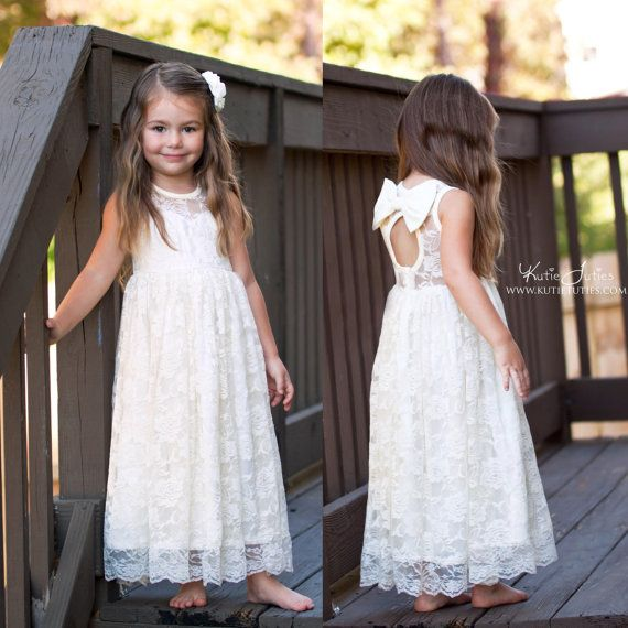 Ivory Sweetheart Dress- Flower Girl, Ivory, Wedding, Outfit, Girl, Toddler, country, rustic dress, summer, fall, spring, keyhole back, bow