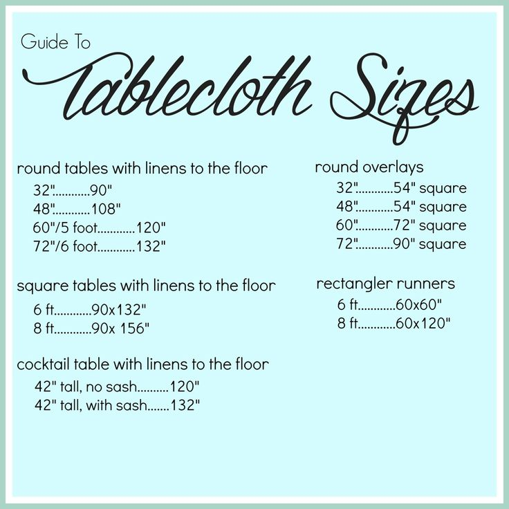 1000 Ideas About Tablecloth Sizes On Pinterest Banquet
