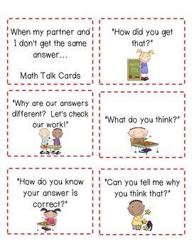MATH TALK CARDS--FREEBIE!!! - TeachersPayTeachers.com