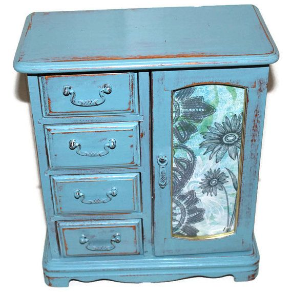 Shabby Chic Cottage Style  Hand Painted Blue by Ourcottageplace