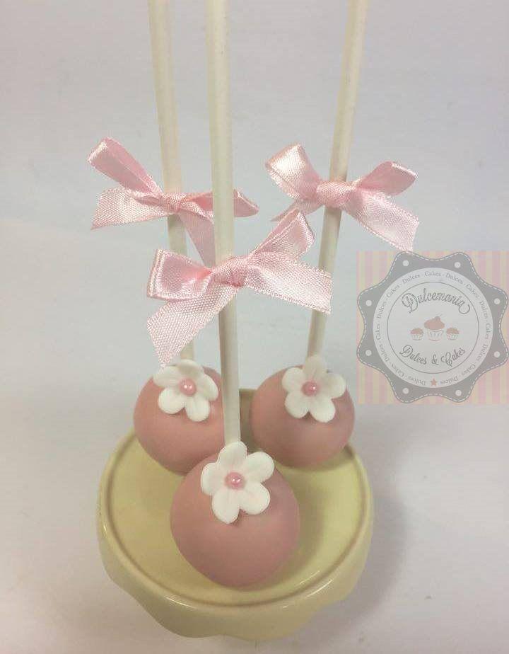 CAKEPOPS ROSA COM FLORZINHA BRANCA - POPCAKE ROSADO CON FLOR BLANCA