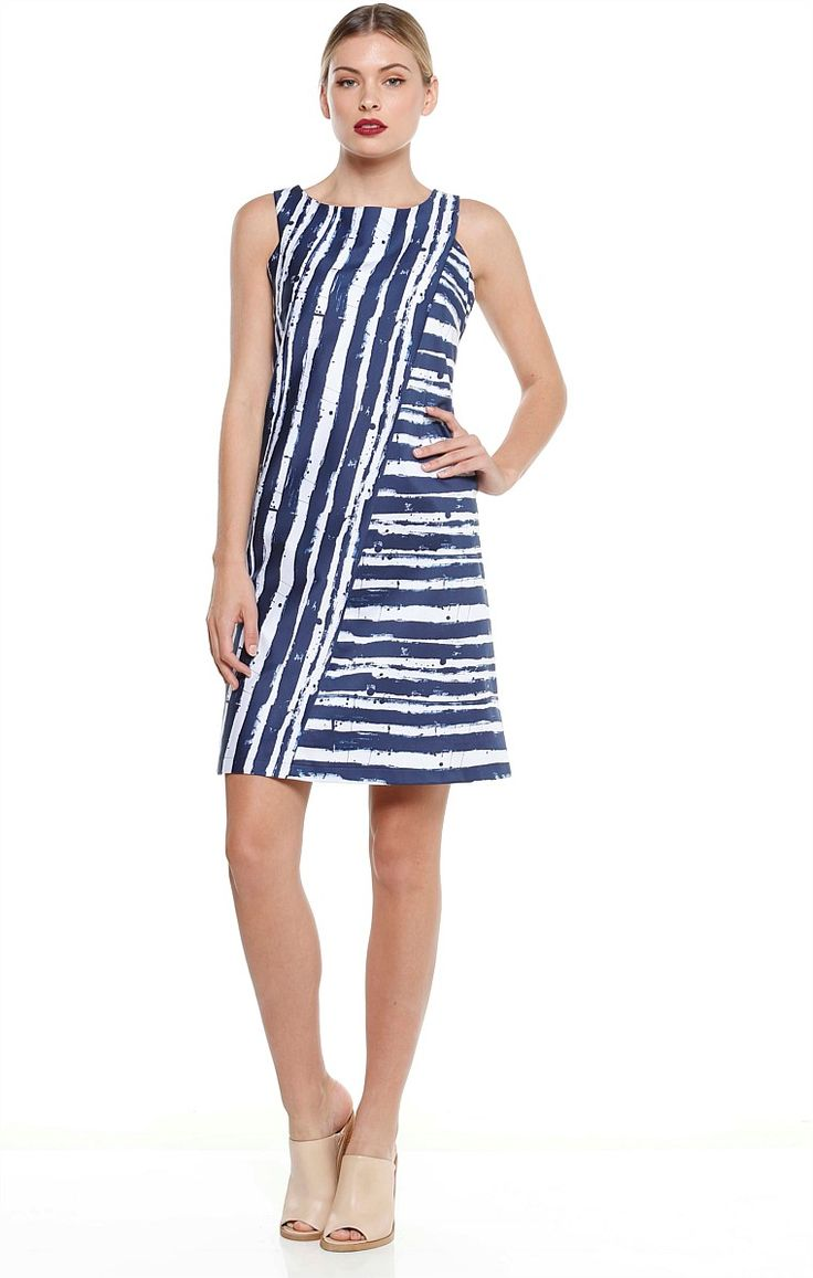 GRANITA STRIPED COTTON SLEEVELESS SHIFT DRESS IN BLUE WHITE
