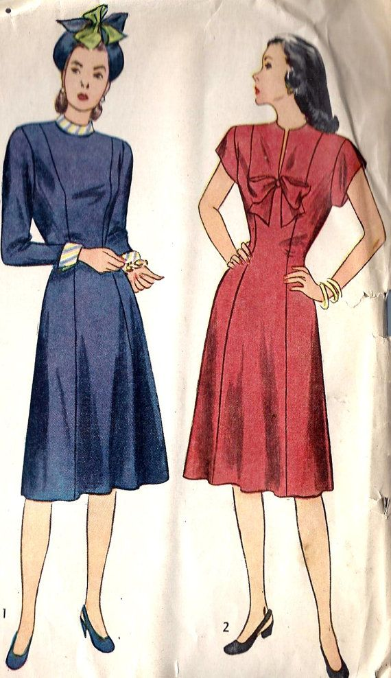 1940s Misses Princess Line Dress Vintage Sewing Pattern, Simplicity 1779 bust 34