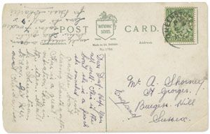 Postcard, 3 ½ by 5 ½ inches, postmarked Queenstown, April 12, 1912. Postcard image on verso depicts, in color, the RMS Titanic at sea, with the White Star Line insignia at upper right corner.