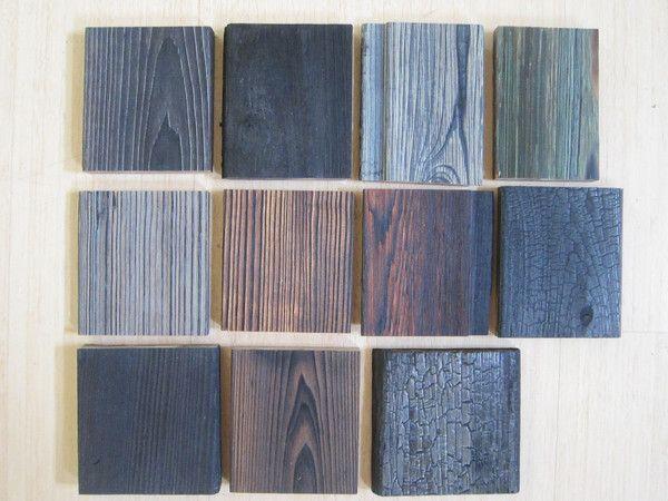 Samples of shou sugi ban - Japanese method of burning wood to make it fire-resistant.