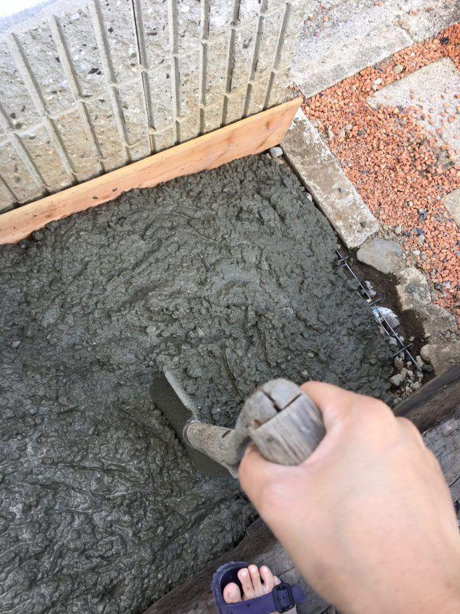 外構diy 庭のスロープにコンクリートを素人が施工してみる