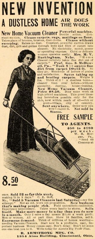 HOUSEKEEPING 1911: Ad Vacuum Cleaner:  R Armstrong Manufacturing Co