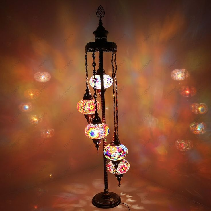 Turkish Morrocan Hand Made Multicolour Mosaic Floor Lamp Light 5 Large Globe