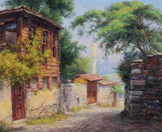 Hüseyin Cahit Derman | Ahşap Ev (1952), Tuval üzerine yağlıboya | 49.00 x 60.00 cm. / Turkish Painter