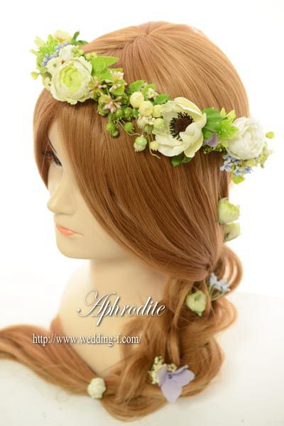 花冠&チラシ花 「白グリーン×ナチュラル系」