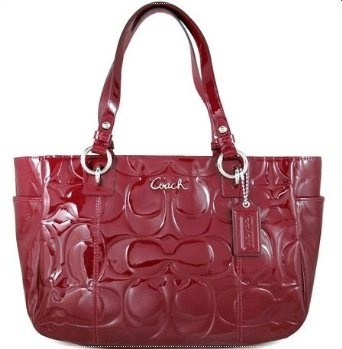 Love this! Coach Signature Embossed Patent Leather Gallery Bag Purse Tote 17728 Garnet Red