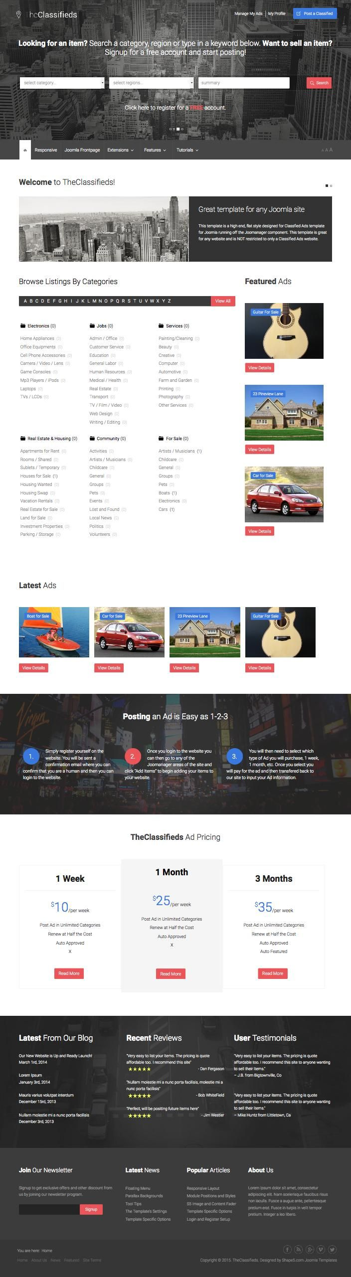 TheClassifieds Ads Listing Directory Joomla Template 355
