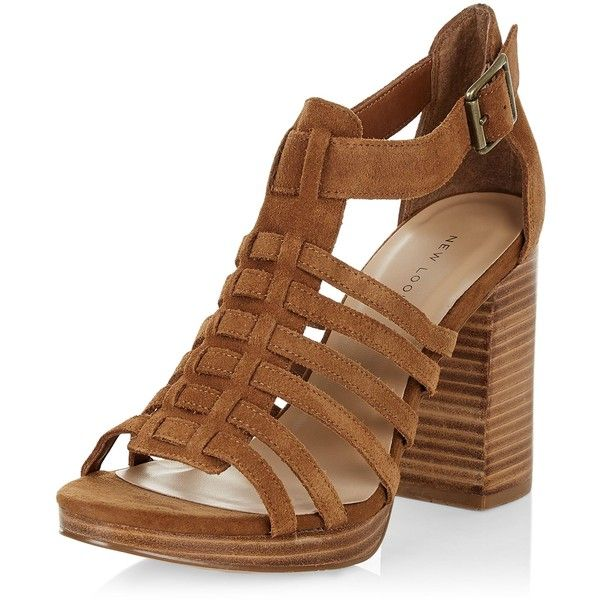New Look Tan Suede Multi Strap Block Heel Sandals (£15) ❤ liked on Polyvore featuring shoes, sandals, tan, block heel sandals, new look shoes, block shoes, tan heeled sandals and tan shoes