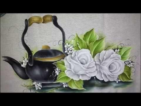 Pintura em tecido Aula completa. Piso, sombra, bule, folha, rosa branca.