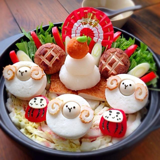 はんぺんとうずらの卵で羊を作りました〜(^∀^) ぐるぐるはちくわです!  鏡餅は大根おろしと人参おろしです! - 306件のもぐもぐ - お正月もデコ鍋で決まり!! by kazzzzz