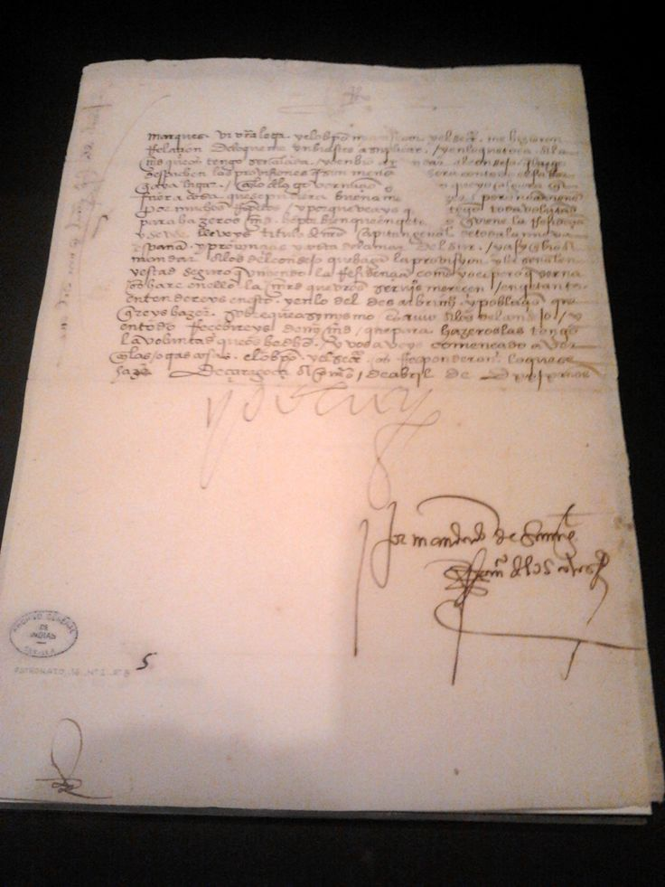 """Hernán Cortés' Commission as Captain General of New Spain. This Royal writ gave him the title of Captain General of New Spain and the provinces that reached the Southern Sea, adding that he will be rewarded for his services. He's also ordered to continue with the """"discovery and settling of lands"""", Indian General Archive, Seville"""