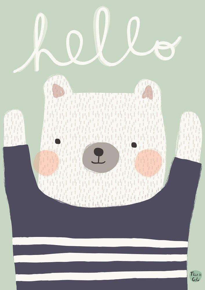 Petit Monkey poster polar bear hello 29.7 x 42 cm